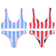 Belleziva Women Swimsuit Stripe Female Swimwear
